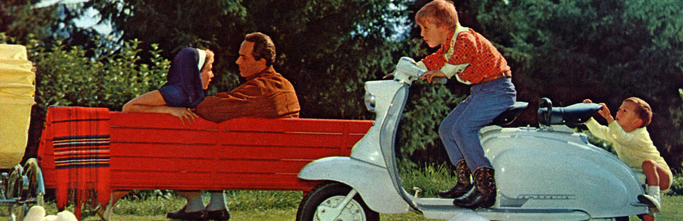 Lambretta scooter with children
